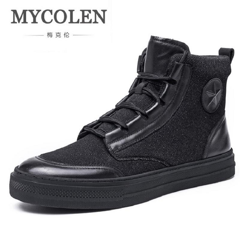 MYCOLEN New Men Shoes Lace-Up Flat Heel Leather Shoes Fashion Ultralight Men High-Top Black Casual Shoes Zapatilla Hombre black sequins embellished open back lace up top