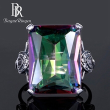 Bague Ringen Wedding Brand 12x16MM Fire Mystic Rainbow Topaz Rings For Women Solid 925 Sterling Silver Ring Vintage Fine Jewelry