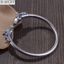 Handmade 100% 925 Silver Good Luck Bracelet Double Horse Symbol Cuff Bracelet Pure Silver Man Bracelet
