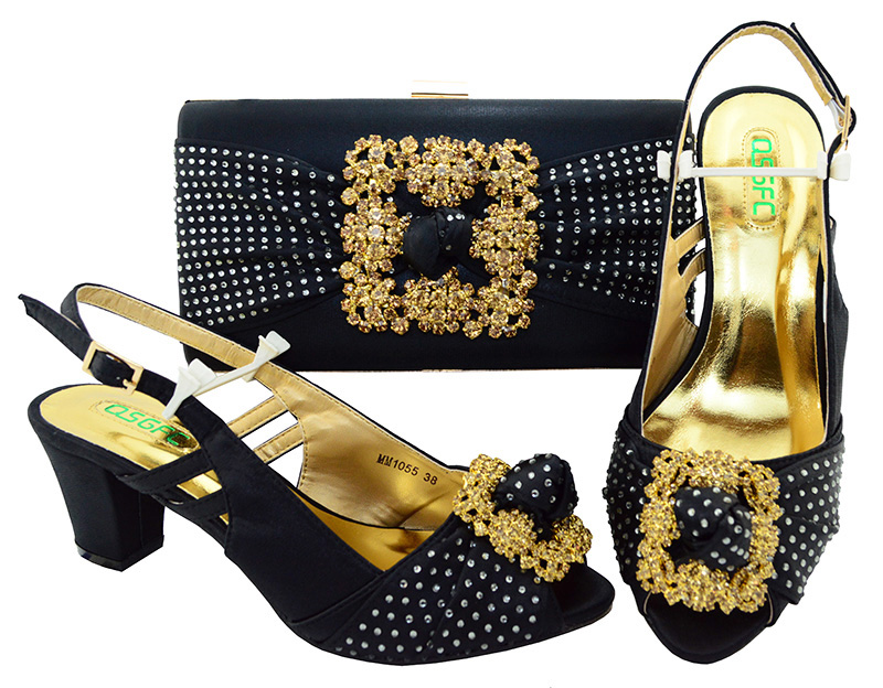 Hot sale 6cm heels For Women nigerian Ladies high heels and Bag Set Italian Shoes matching Bag Set cd158 1 free shipping hot sale fashion design shoes and matching bag with glitter item in black