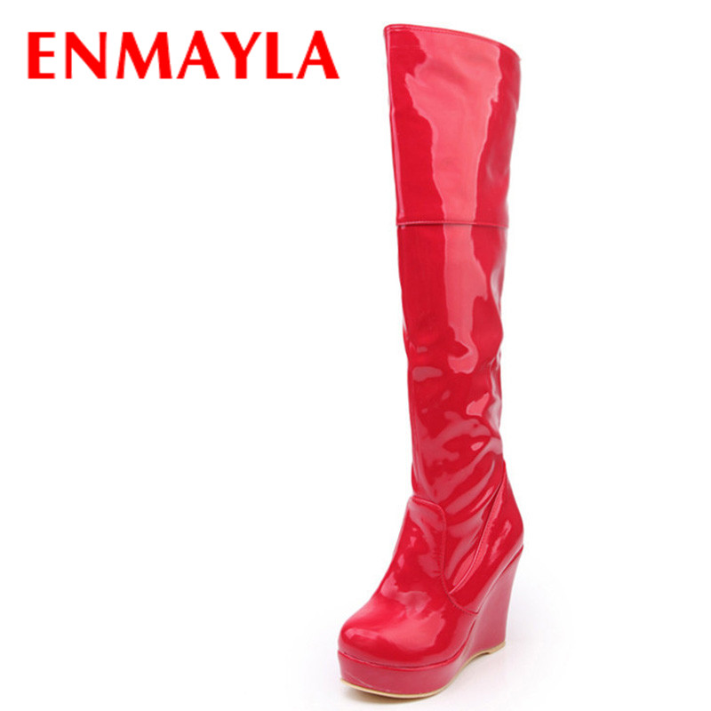 ENMAYLA White Red Platform Wedges Boots Over-The-Knee Long Boots Women High Heels Slip On Boots For Women Spring Autumn Shoes футболка с полной запечаткой женская printio песик с шариком