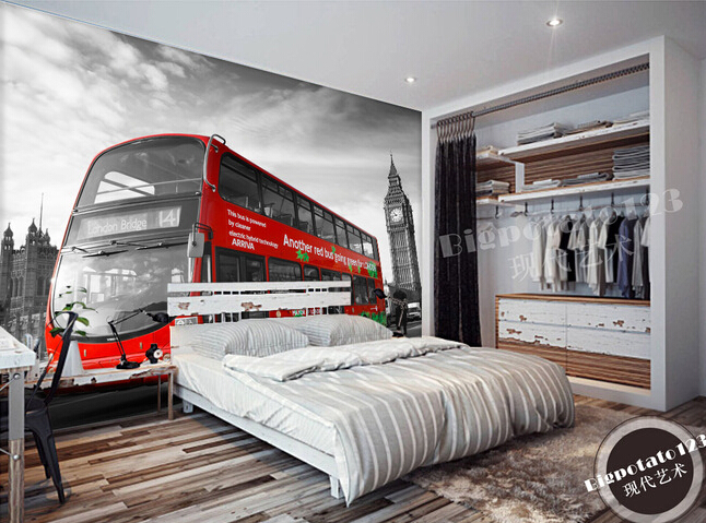 Custom wallpaper photo, black and white Big Ben and red bus murals for the living room bedroom TV background wall pared de Papel custom photo wallpaper black and white new york city landscape for living room bedroom tv background wall waterproof wallpaper