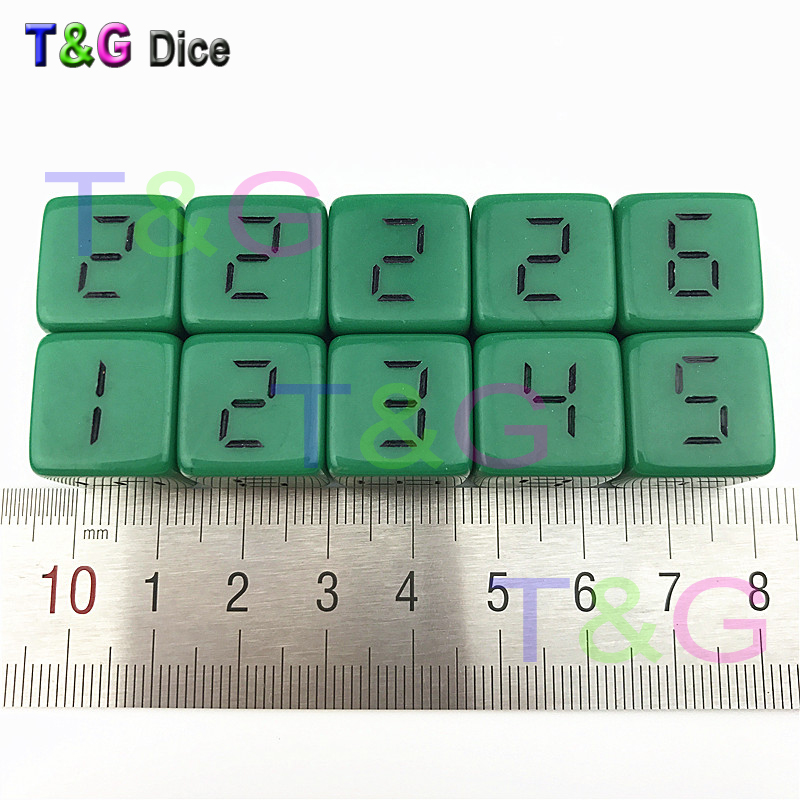 16mm 10pcs/set acrylic digital <font><b>d6</b></font> <font><b>dice</b></font>,6 sided cube plastic <font><b>dice</b></font> for sale black <font><b>green</b></font> yellow image