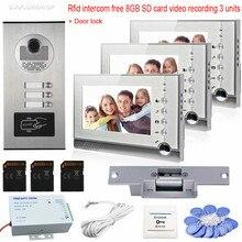 Video Intercom Door Rfid Camera 3 Monitors Color 7″ Photo Memory Video Recording 8GB SD Card Video Door Phone+ Electric  Lock