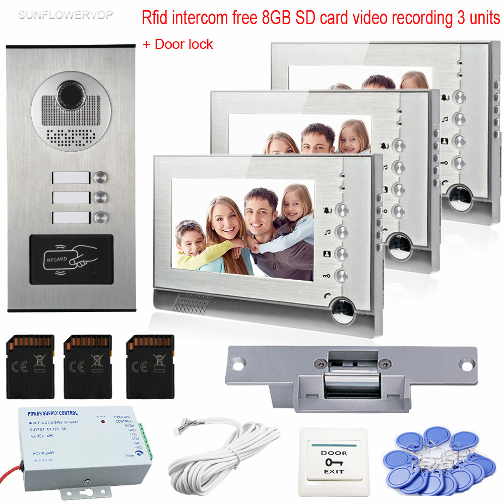 Video Intercom Door Rfid Camera 3 Monitors Color 7 Photo Memory Video Recording 8GB SD Card Video Door Phone+ Electric  Lock 3 monitors 7 video intercom with reording 8gb tf memory cards intercom door rfid camera for 3 apartments electric strike lock