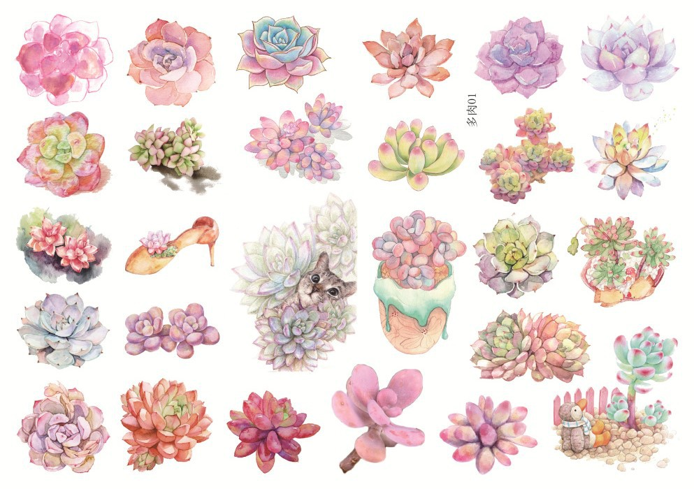 Uncut A5 Succulent Plants Garden Decorative Sticker Set Diary Album Label Sticker DIY Scrapbooking Stationery Stickers Escolar