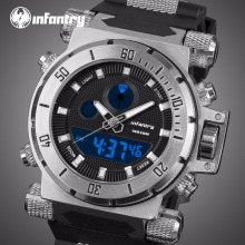 INFANTRY Multifunction Sport Watch Rubber Strap Male Quartz Movement Analog Digital Date Alarm Military Men Waterproof Stopwatch