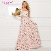 S. FLAVOR 프랑스 스타일 플로랄 프린트 여성 드레스 2020 뜨거운 판매 민소매 슬림 여름 긴 Vestidos 캐주얼 맥시 드레스