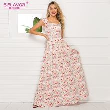 S. FLAVOR فستان نسائي موديل فرنسي مطبوع عليه زهور 2020 عرض ساخن بدون أكمام فساتين صيفية طويلة غير رسمية