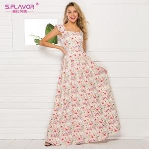 Image 1 - Sabor francês estilo floral impresso vestido feminino 2020 venda quente sem mangas magro verão longo vestidos maxi casuais