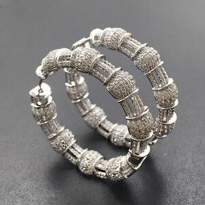 Image 4 - Lanyika תכשיטים יוקרה מוגזם קלאסי גדול כבד אוזן לולאות מיקרו מצופה עגילי חתונה כלה יומית הטוב ביותר מתנה