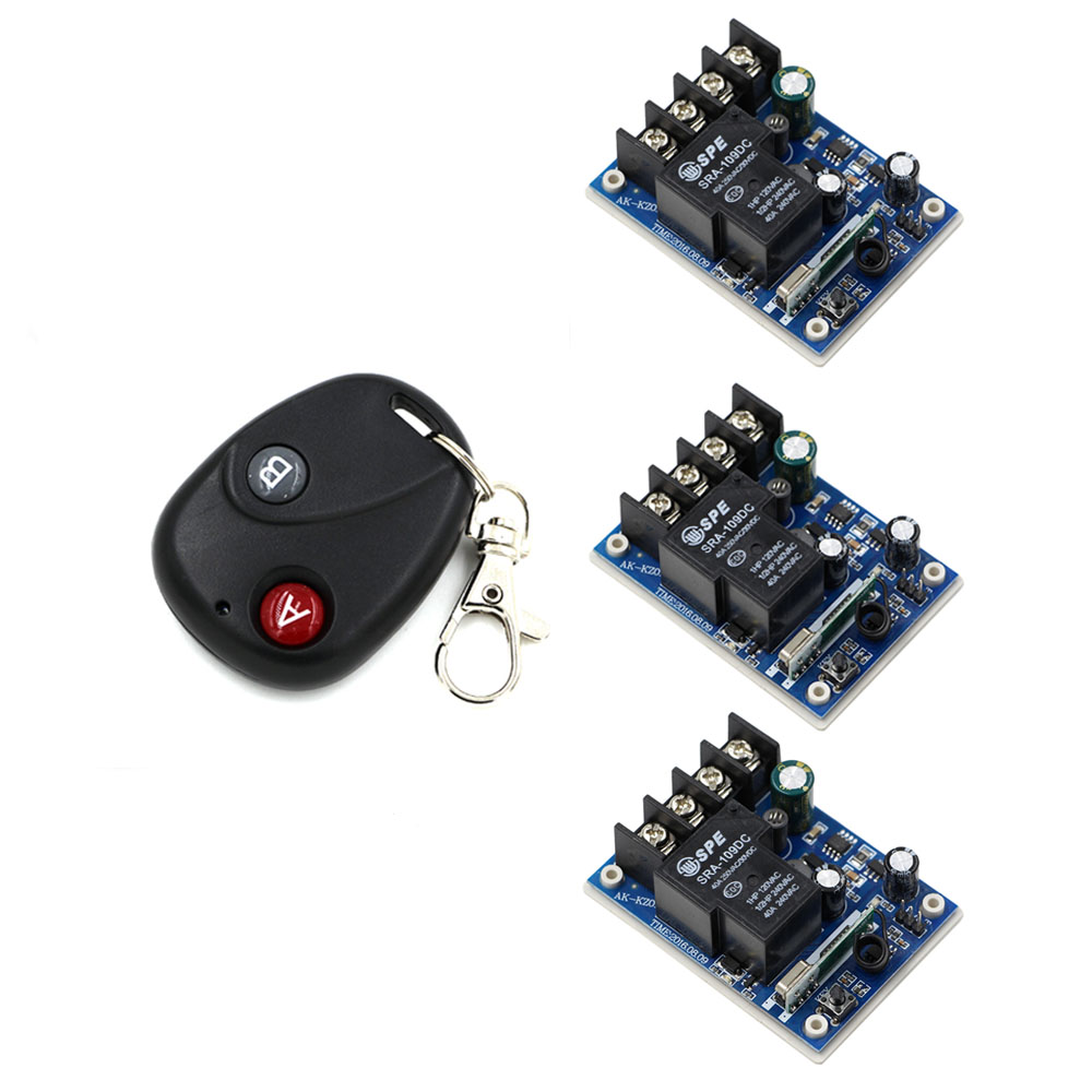 DC12V 24V 36V 48V 1CH 30A Relay Wireless Remote Control Switch System Transmitter With 3 piece Receivers Household Appliances 2 receivers 60 buzzers wireless restaurant buzzer caller table call calling button waiter pager system