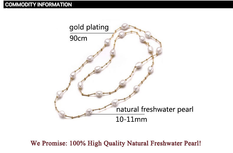 Image 5 - ZHBORUINI High Quality Fashion Long Pearl Necklace Baroque Natural Freshwater Pearl Pearl Jewelry For Women Necklace Accessories-in Necklaces from Jewelry & Accessories