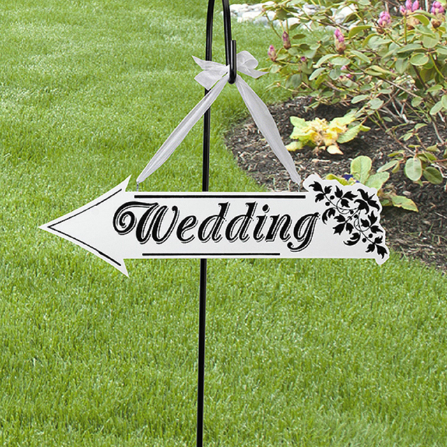 Wedding Sign White Wooden Direction Arrow Ceremony Reception Decor Shaped Hanging Decoration