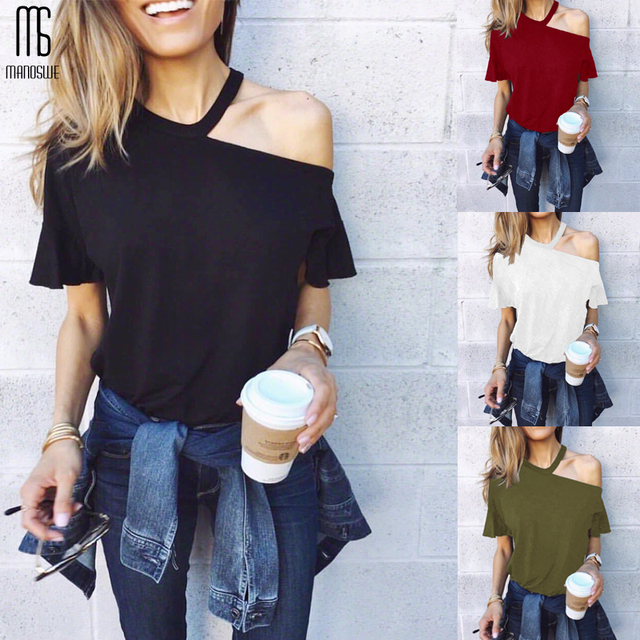 One Shoulder Butterfly Sleeve Tee