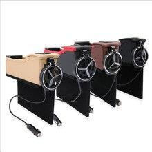 Для всех автомобилей слоты для хранения коробки держатели для стаканчиков держатели для напитков зарядка через usb Автомобильные сиденья из искусственной кожи коробки для хранения автомобильные аксессуары
