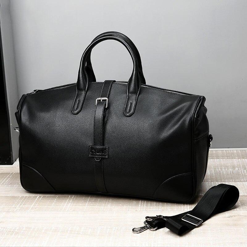 2019 nowy mody PU skóra mężczyzn torby na co dzień podróży do przenoszenia torby podróżne męskie torby płócienne torba podróżna duża torba weekendowa z dnia na dzień w Torby podróżne od Bagaże i torby na  Grupa 1