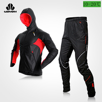 SOOMOM Windproof Jacket Pants Sets Cycling Men's Fleece Mountain Jacket with Hood Outdoor Multi Sports Suits Autumn Winter