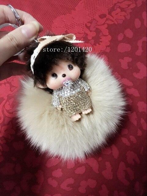 Bling брелок кристалл Monchhichi Monchichi кукла брелок бежевый пушистый pom pom мяч сумка шарм сумка сумочка ошибка очарование девушки подарок
