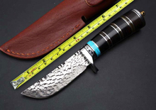 Forge Damascus Ebony+Ox Horn Handle Fixed Blade Knives Survival Knives Outdoor Multi Straight Knives Camp Rescue Tools Hot Sales