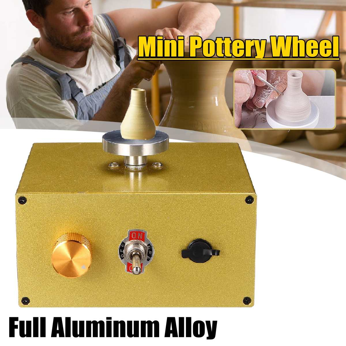 New Aluminum Fingertip Mini Pottery Wheel 4.5cm Turntable Knob Stepless Speed Change Ceramic Machine Pull Machine Plug-in