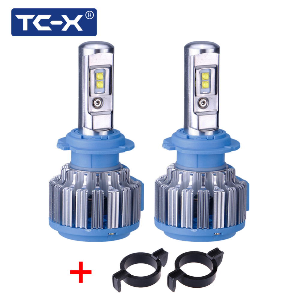 TC-X For Peugeot 508 2008 3008 Car headlights H7 LED <font><b>Conversion</b></font> Kits with Adapter All in One 6000k Super Bright cooling Fans