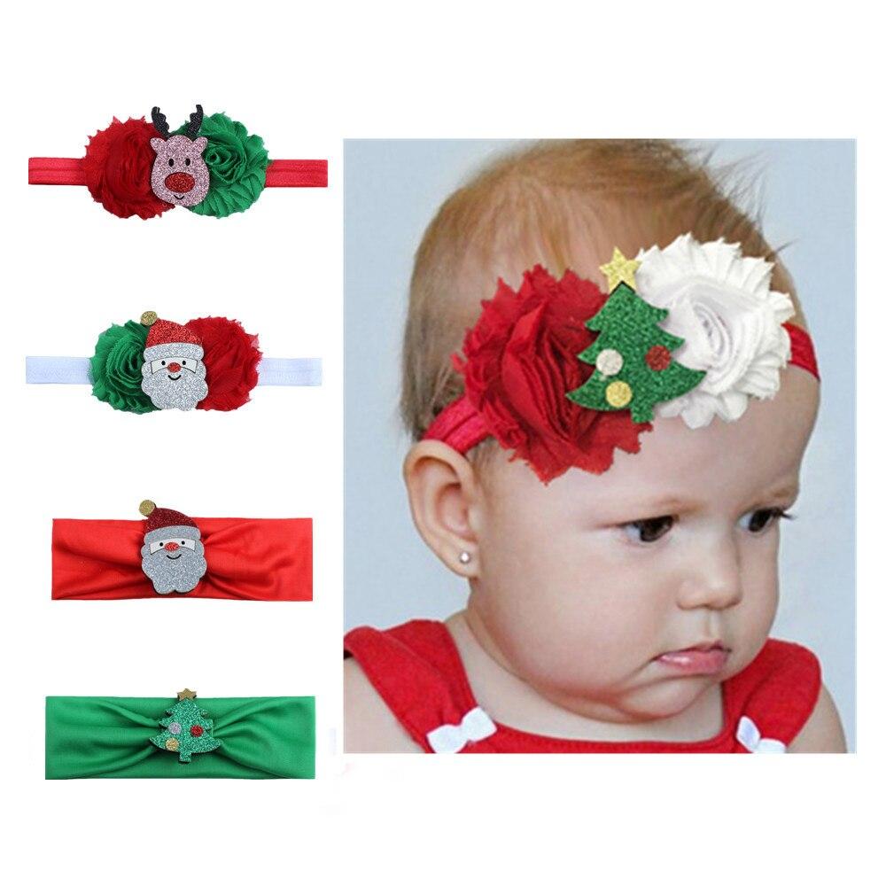 1 Pc Neue Weihnachten Hair Haar Zubehör Nette Stirnbänder Mädchen Weihnachten Geschenk Kinder Blume Hirsche Elch Muster Kinder Stirnband