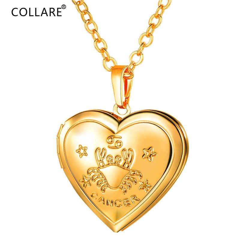 Collare кулон «Рак» медальон в форме сердца фото/память золото/серебро Цвет 12 зодиака ювелирные изделия с созвездиями изысканное Ожерелье Женщины P896