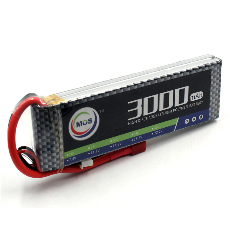 MOS 2 S RC LiPo batería 7,4 v 3000 mAh 25C 2 S para RC Avión Helicóptero, coche y barco Quadcopter li-baterías de polímero de AKKU