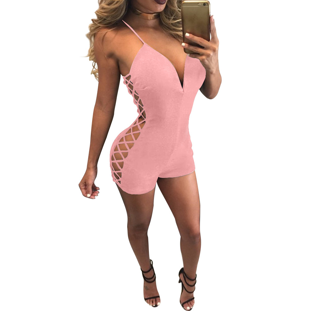 Summer Women Deep V Backless Skinny Playsuits Hollow Out Lace up Romper Slim Spaghetti Strap Jumpsuit Sexy Club Bodysuit Shorts