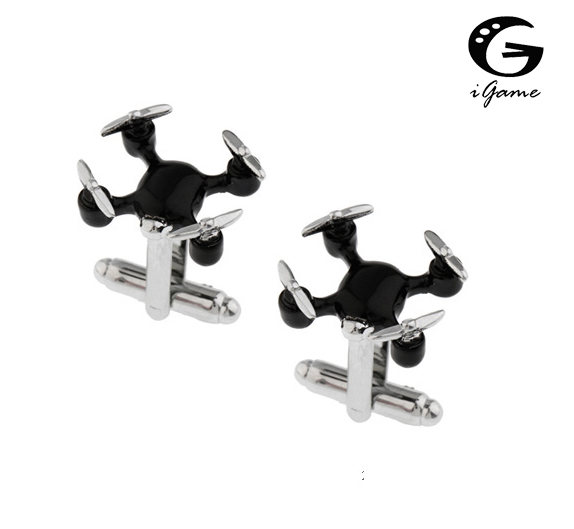iGame New Arrival UAV Cuff Links Black Color Unmanned Aerial Vehicle Design Quality Brass Material Cufflinks Free Shipping igame gamepad cuff links 3 styles option funny joystick design free shipping