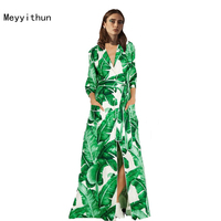 New Arrival Runway Amazing Green Banana Leaves Printed Loose Long Dress Maxi Dress 161008ZX01
