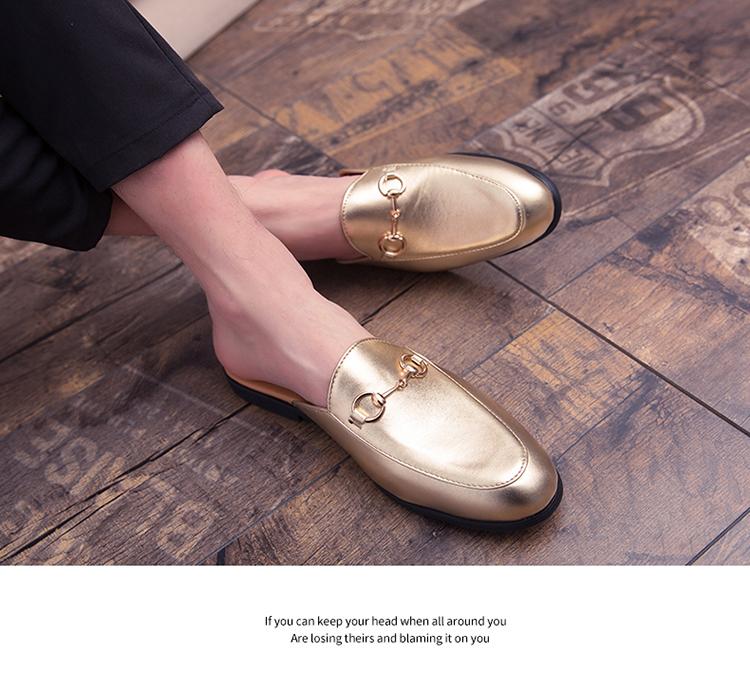 Men Backless dress leather slipper shoes Men unisex Bee prints Horseshoe buckle Casual business wedding Leather shoes women 19