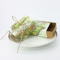 25pcs/lot World Map Box with Jute Tie Wedding Gift Candy Boxes Bomboniere Favors 7.5*5*3cm