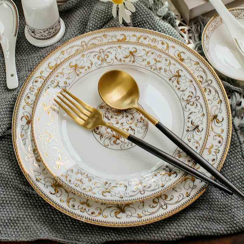 2 pièces/ensemble | Service de table en porcelaine, 8 + 10 pouces, assiettes et plats, plats buffet en céramique pour fête, chargeurs dassiettes en porcelaine, fête