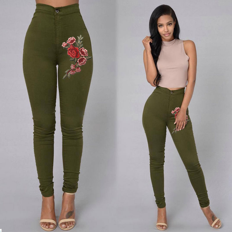 2017 New Fashion Women 39 S Clothing Straight Long Jeans Pants 3d Flowers Embroidery High Waist