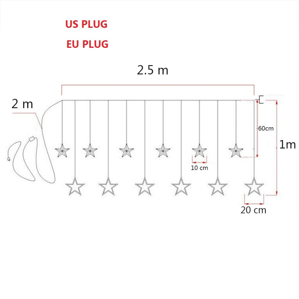 The Cheapest Price 12 Stars Curtain Lights With Tails Family Party Garden Wedding Holiday Lighting Led Fairy Star String Christmas 11.11 Sale Lighting Strings