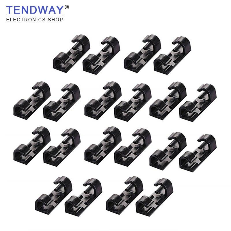 Tendway 20PCs Wire Cable Organizers Desktop Data Cable Cord Clip Telephone Line Management USB Charging Data Line Winder data management
