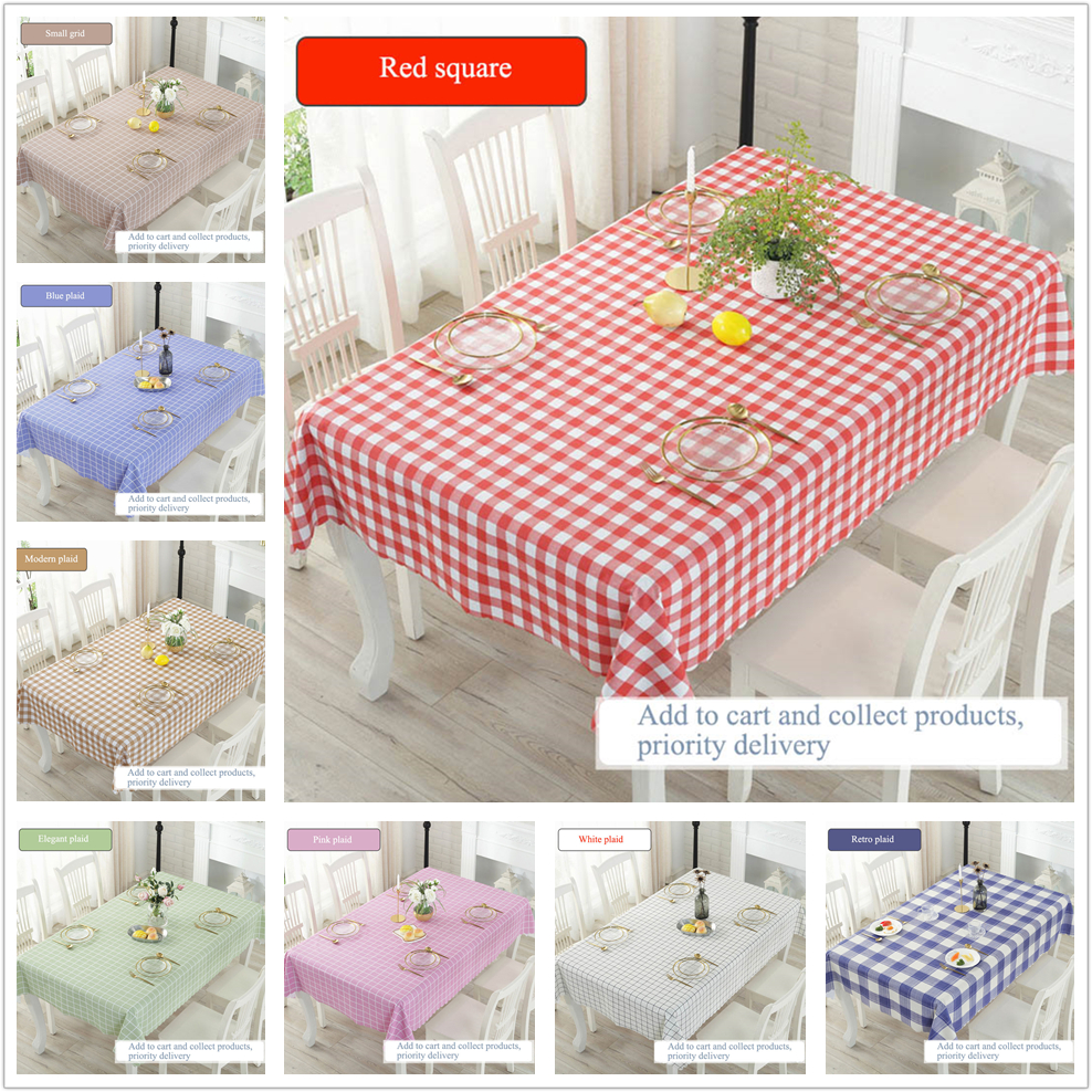 PVC Tablecloth Plaided Waterproof Table Cloth Oil Resistant Wipe Clean Cover Tablecloths Tableware, Serving & Linen