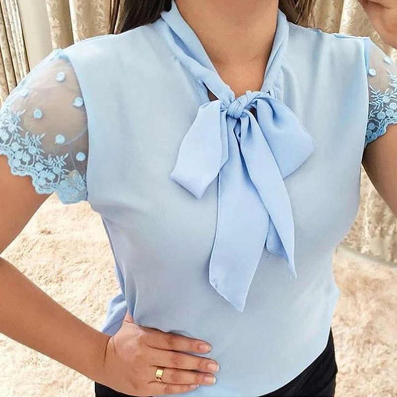 Umeko Lace Up Bow Tie เสื้อ 2019 ฤดูร้อนสั้นแขนยาวชีฟอง Casual เสื้อ PLUS ขนาด 5XL สำนักงานเลดี้ Blusas