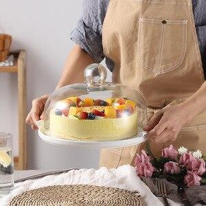 26 cm Nordic ceramiczne ciasto taca uchwyt stojak pieczone przezroczyste szkło bezołowiowe pokrywa Dim Sum talerz na owoce chleb po południu herbaty rama