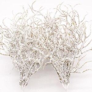 Image 3 - 6 pcs מלאכותי לבן דשא צמח מלאכותי פרחים לחתונה חג המולד דקור DIY רעיונות זר פרחים מזויפים