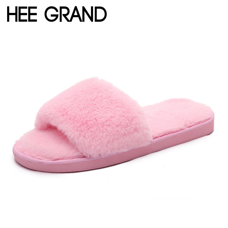 HEE GRAND Indoor Fur Slippers 2017 Warm Platform Shoes Woman Slip On Soft Flats Casual Floor Slipper Women Home Shoes XWT556 hee grand winter snow boots women mid calf boots warm casual shoes woman man made fur slip on platform women flats shoes xwx3969