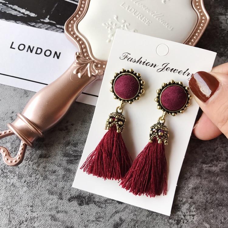 Women Fashion Jewelry Vintage Velvet Ball Statement Fringed Drop Earring Female Jewellery ,Ear Studs gray a 17