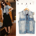 2015 women vest spring sleeveless denim vest plus size women tops denim coat