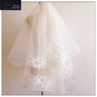 Elegant Lace Edge Bridal Veil Ivory Tulle Two Layer Short Beautiful Wedding Accessories