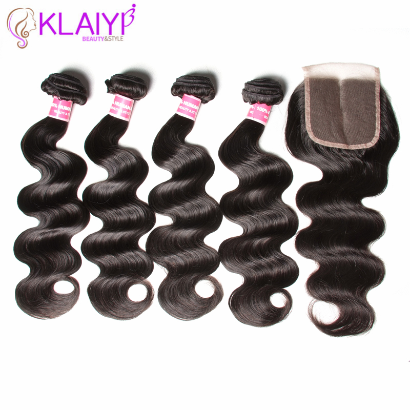 Klaiyi Hair 4 Bundles With Closure Indian hair Body Wave With Closure 4 Bundles Human Hair Lace Closure Free Part Remy Hair