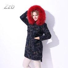 Russian Coats women Jackets 100% Genuine Leather Raccoon Dog Fur Real Rex Rabbit Fur casacos bts winter parka long maxi denim