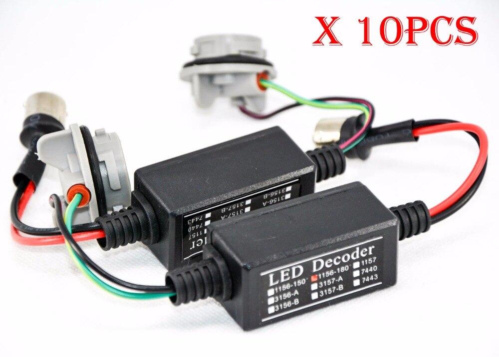 10PCS 1156 1157 LED Bulb Power 8W Error Free Canbus Canceler Adapter Decoder Fog Turn Brake Signal Anti-Hyper Flashing Blinking