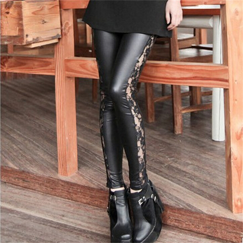 Slim Fit Sexy Splicing Lace Women leather Skinny Stretch Pants Trousers Leggings